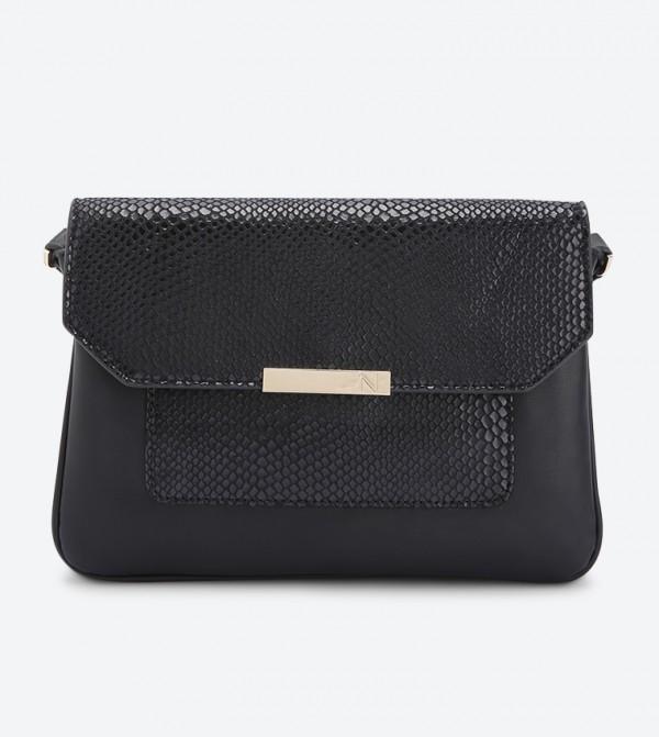 حقيبة سينتي بحمالة كتف طويلة لون أسود