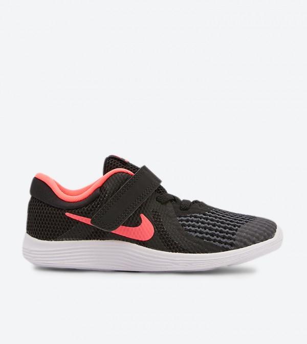 Revolution 4 Mesh Detail Velcro Closure Sneakers - Black