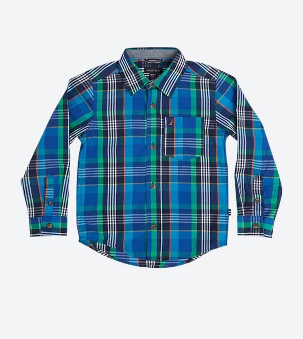 قميص بنمط مربعات لون أزرق