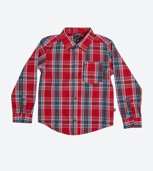 قميص بنمط مربعات لون أحمر