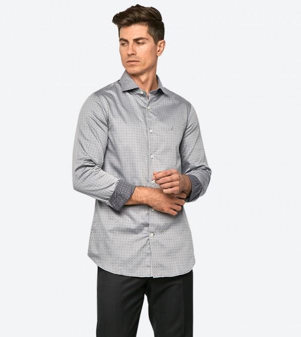قميص بأكمام طويلة لون رمادي