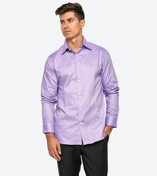 قميص بأكمام طويلة لون أرجواني
