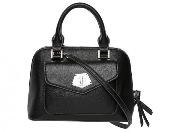 Nine West Rock And Lock Handbag Mini Satchel Sm For Women - Man Made Black