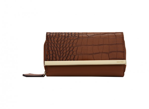Nine West Divide And Conquer S Handbag Flap Wallet Mc For Women - Man Made Brown