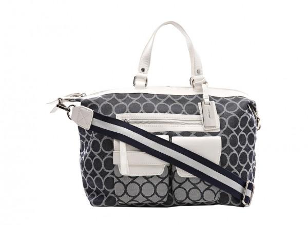 Nine West  Pop Pocket Handbag Satchel Md For Women - Fabric Black