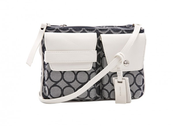 Nine West Pop Pocket Handbag Cross Body Md For Women - Fabric White-NW60414125-GRAY