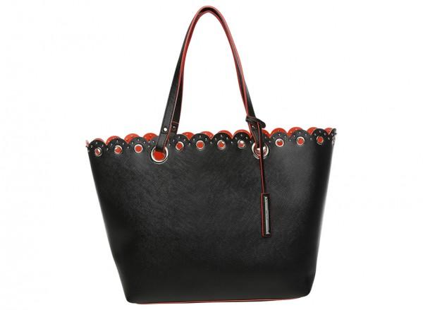 Nine West Scallop Tote Handbag Tote Lg For Women - Man Made Black