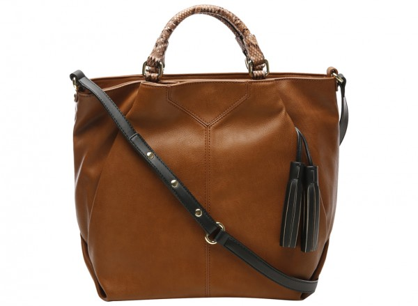 Tasseled And Tied Brown Shoulder Bags & Totes