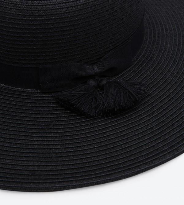 4a8140c00 Tassel Bow Band Floppy Hat - Black