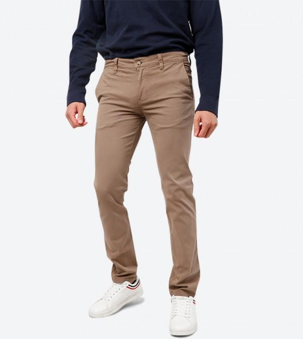 4-Pocket Button Closure Trouser Pant - Beige