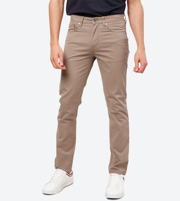 4-Pocket Button Closure Trouser Pant - Light Beige