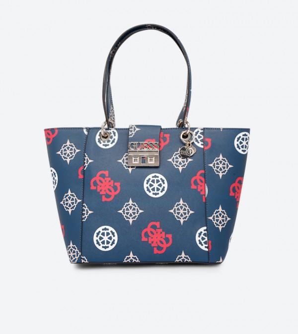 Top Zip Closure Dual Handle Printed Tote Bag - Blue