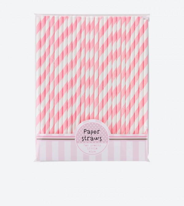Mix & Match Striped Printed Straws Set (25 Pcs) - Pink