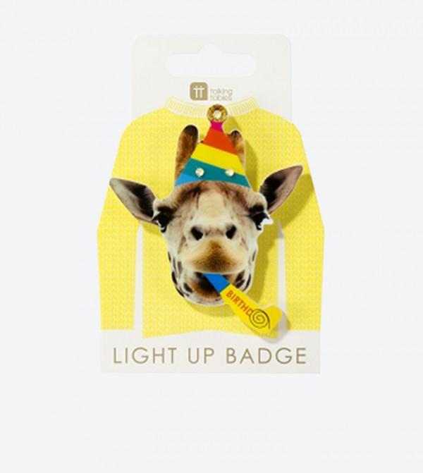 Rainbow Birthday Giraffe Designed Badge - Multi