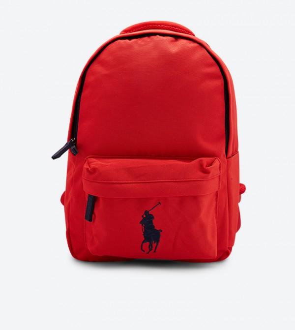 حقيبة ظهر بسحاب للإغلاق لون أحمر