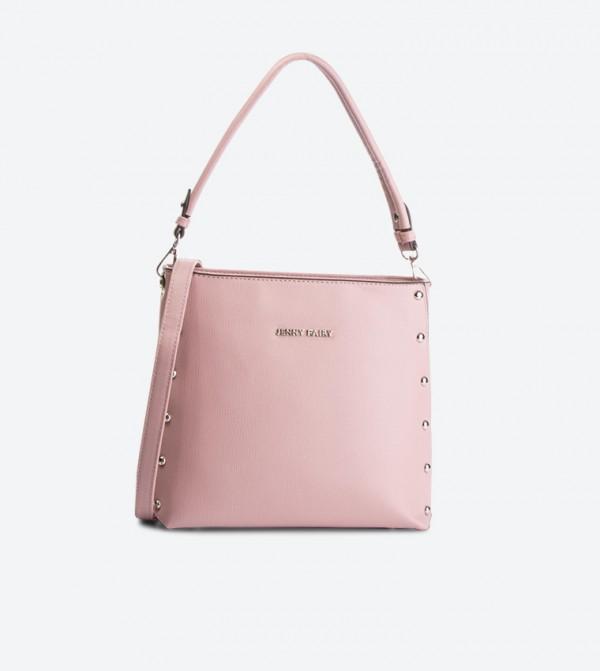 حقيبة بحمالة كتف طويلة لون زهري