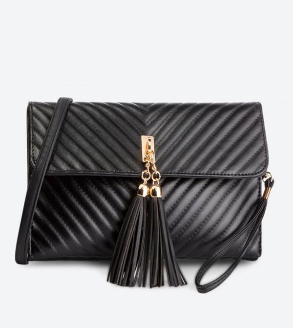 حقيبة بحمالة كتف طويلة لون أسود