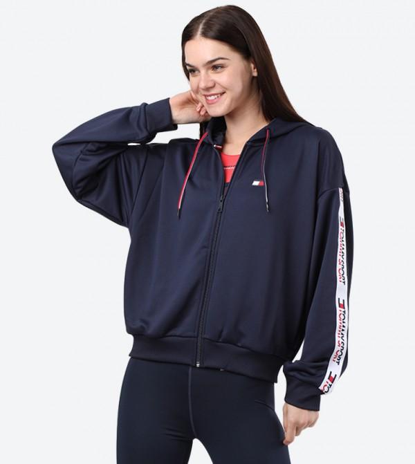Front Full Zip Closure Long Sleeve Hoodie - Navy