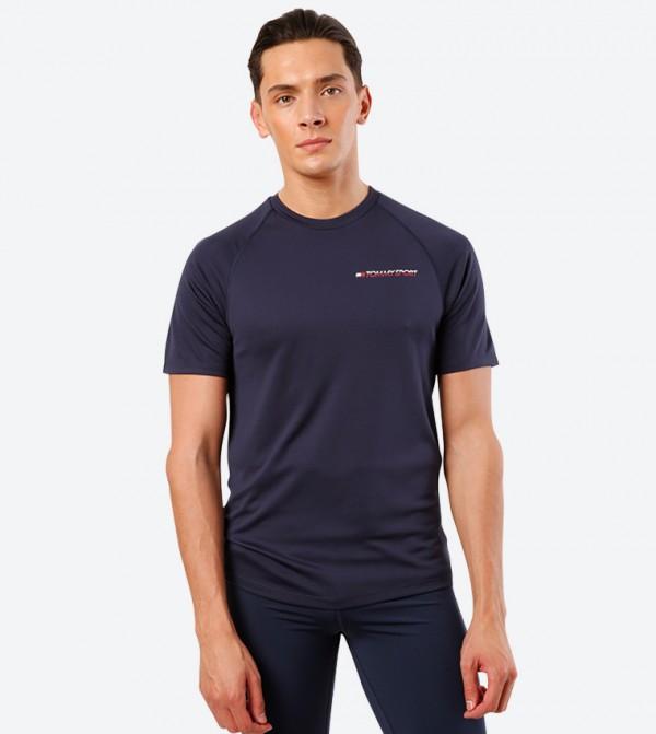 Short Sleeve Round Neck Performance T-Shirt - Blue