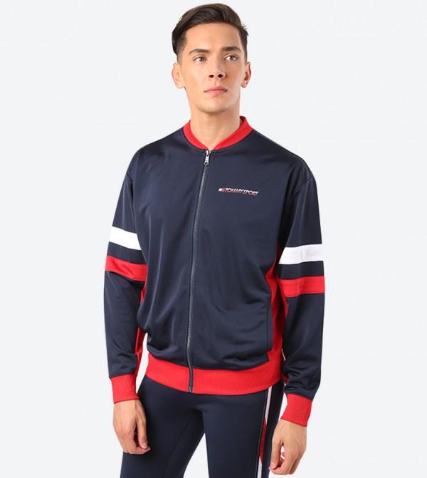 Colorblock Long Sleeve Cuff Hem Track Jacket - Blue