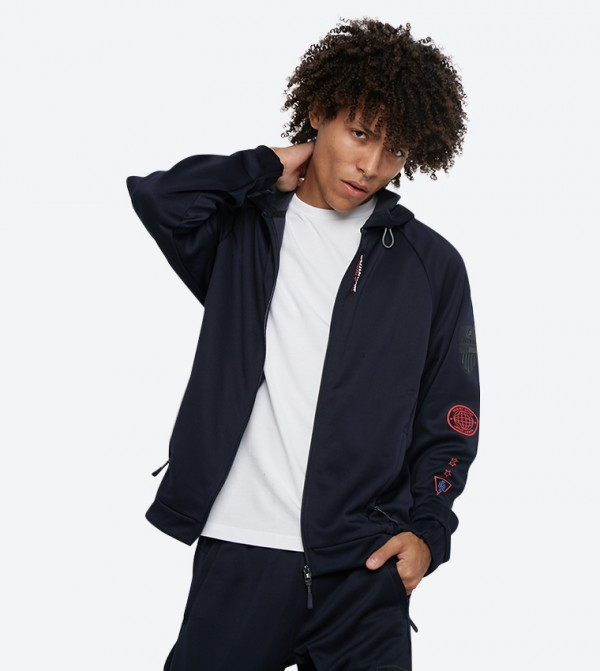 Full Zip Closure Crest Long Sleeve Track Jacket - Navy