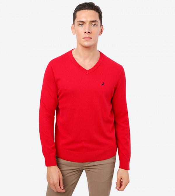 Brand Logo Detailed V-Neck Long Sleeve Sweatshirt - Red