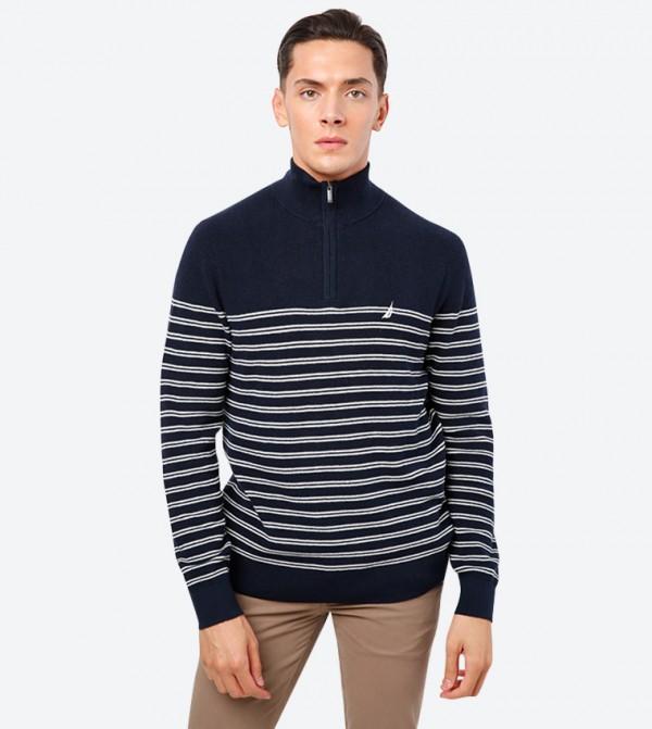 Half Zip Closure High Neck Long Sleeve Sweatshirt - Navy