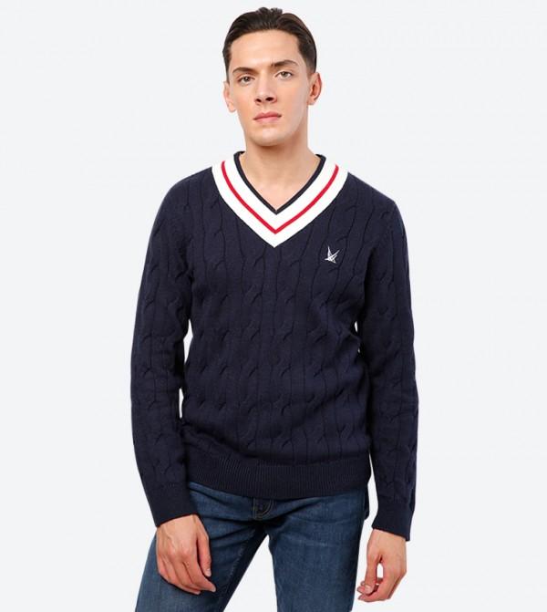 Brand Logo Detailed V-Neck Long Sleeve Sweatshirt - Navy
