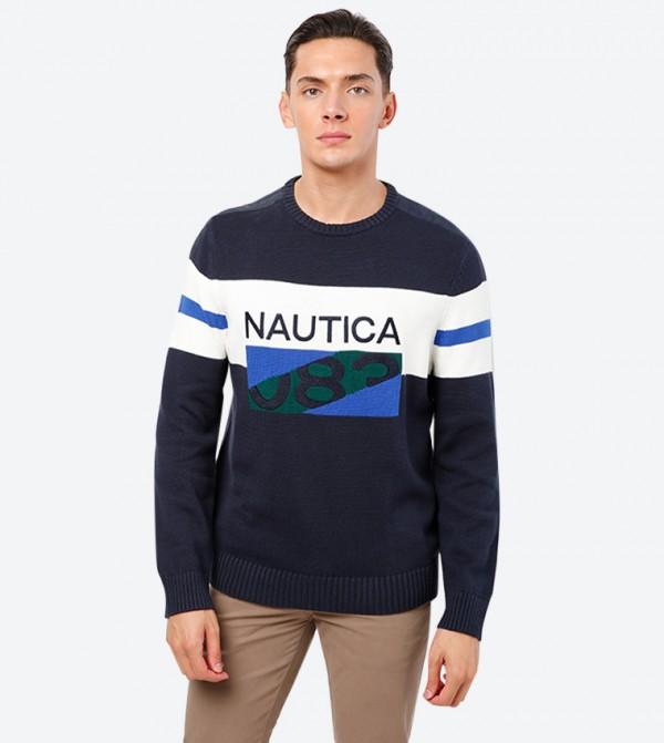 Brand Name Detailed Crew Neck Long Sleeve Sweatshirt - Navy