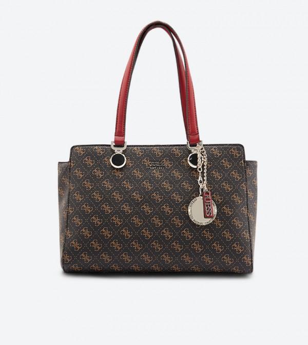 Guess Aline Society Dual Handle Zip Closure Tote Bag Brown
