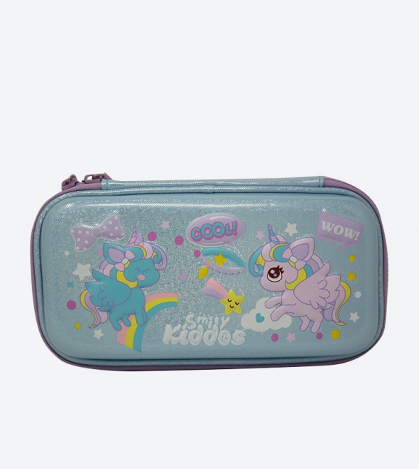 Embossed Flying Unicorn Small Pencil Case - Grey
