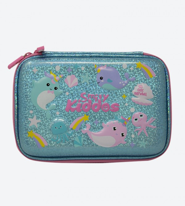 Narwhale Theme Embossed Sparkle Pencil Case - Green