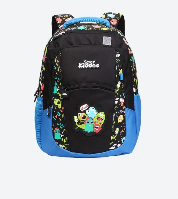 Two Tone Zip Closure Backpack - Black