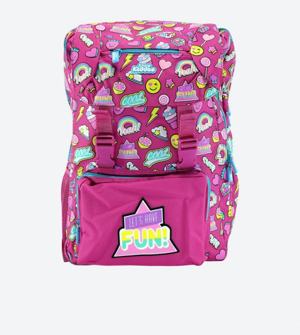 Lets Have Fun Badge Detail Fancy Backpack - Pink