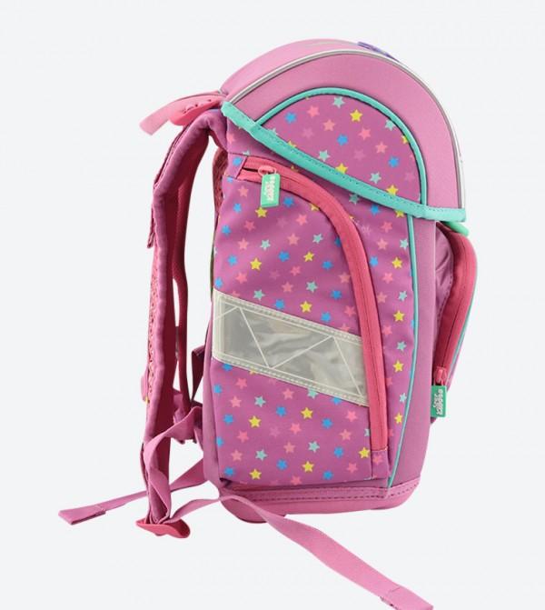 Star Printed Zip Pocket Fancy Backpack - Pink