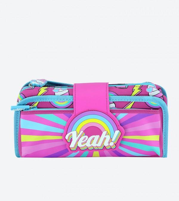Fancy Strap Zip Closure Pencil Case - Pink