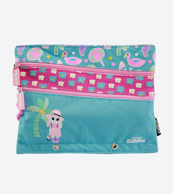 Zip Closure Pocket Fancy A5 Pencil Case - Aqua