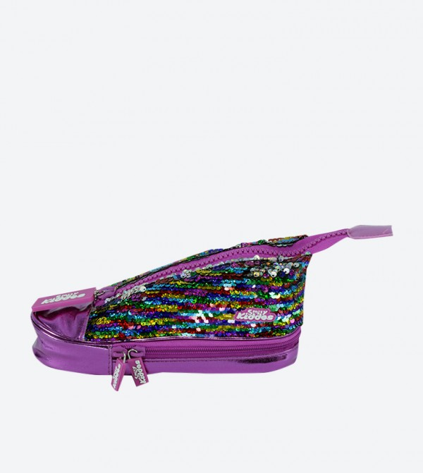 Dual Zip Closure Sneaker Pencil Case - Purple