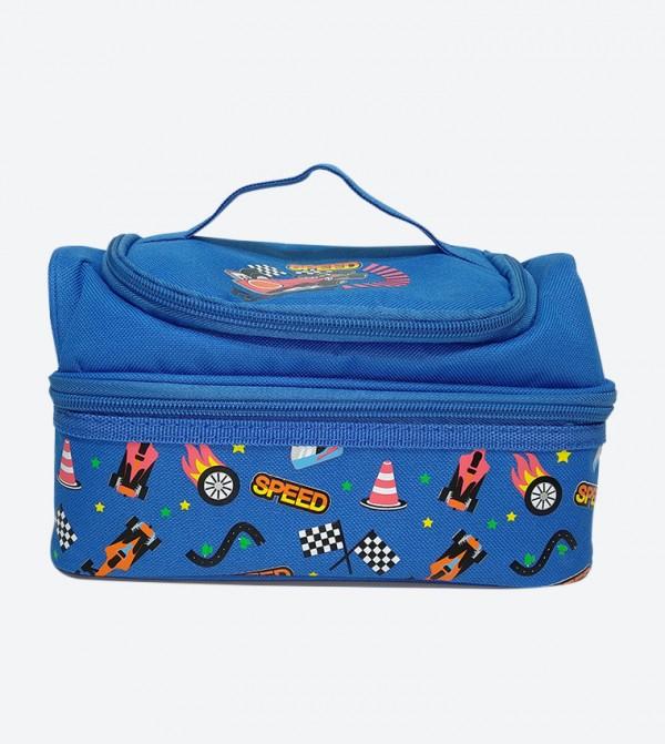 Zip Closure Dual Slot Lunch Bag - Blue
