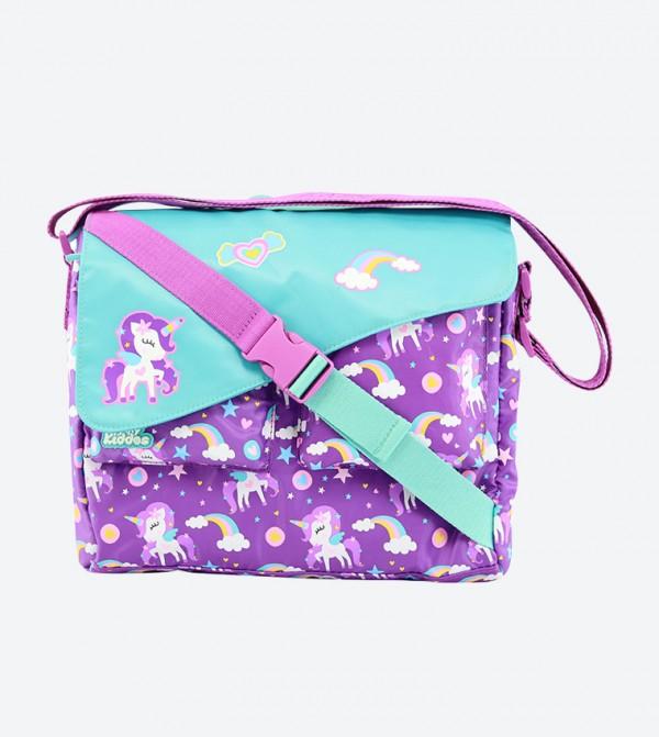 Side Release Buckle Closure Fancy Shoulder Bag - Purple