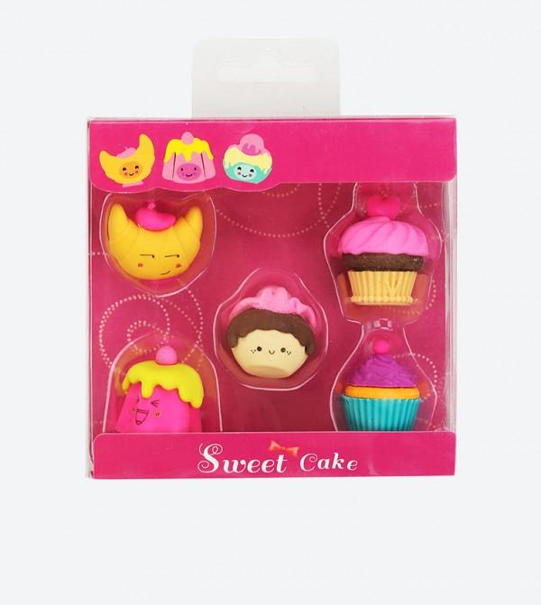 Fancy Cup Cake Designed Eraser Set (5 Pcs) - Multi