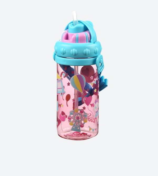 Graphic Printed Sipper Water Bottle - Pink