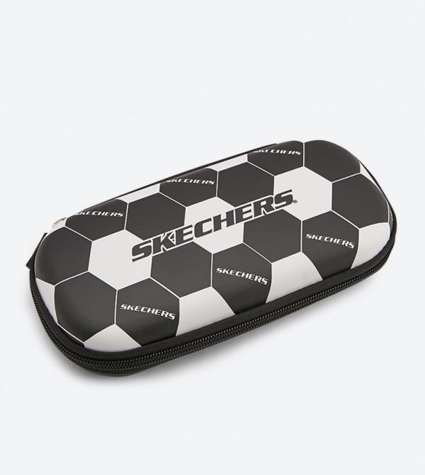 Football Pattern Pencil Case - Black