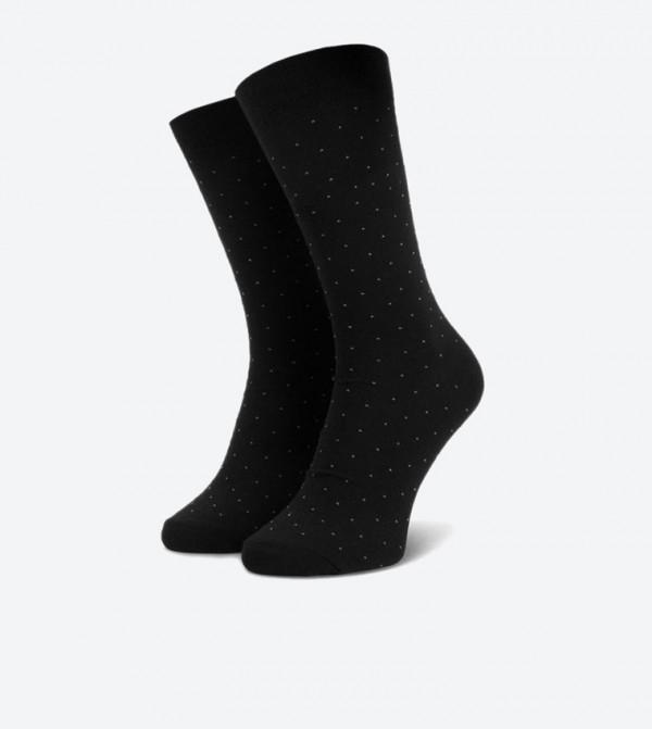 Dot Printed Mid Calf Crew Socks - Black SKARPETY WIZYTOWE (KROPKI) 45-47