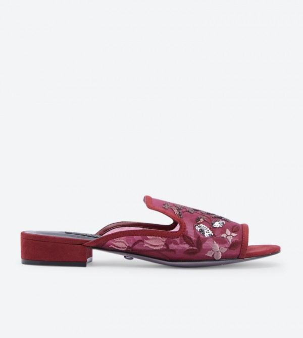 where to buy nice cheap better Floral Embroidered Block Heel Mules - Red