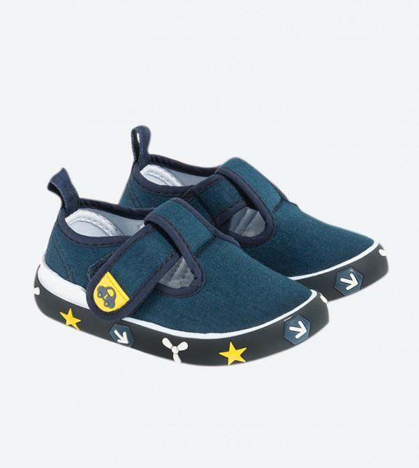 Velcro Closure Round Toe Slip-Ons - Blue