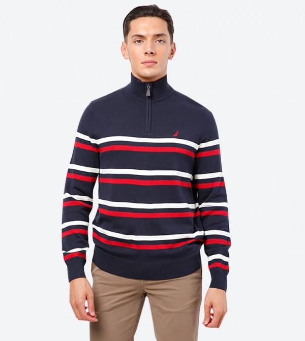 Strip Printed Long Sleeve High Neck Sweatshirt - Navy