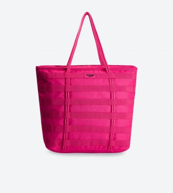 Double Handle Top Zip Closure Tote Bag - Pink SS19-011
