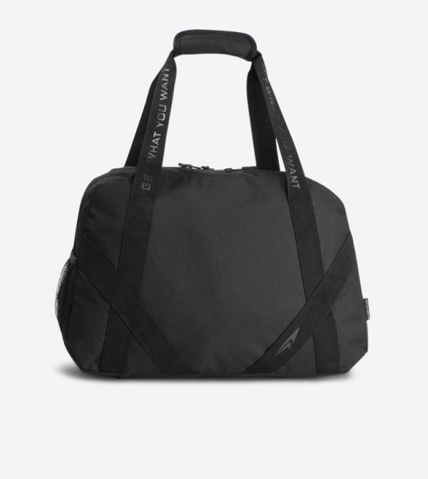 Top Zip Closure Dual Grab Handle Duffle Bag - Black SS19-012