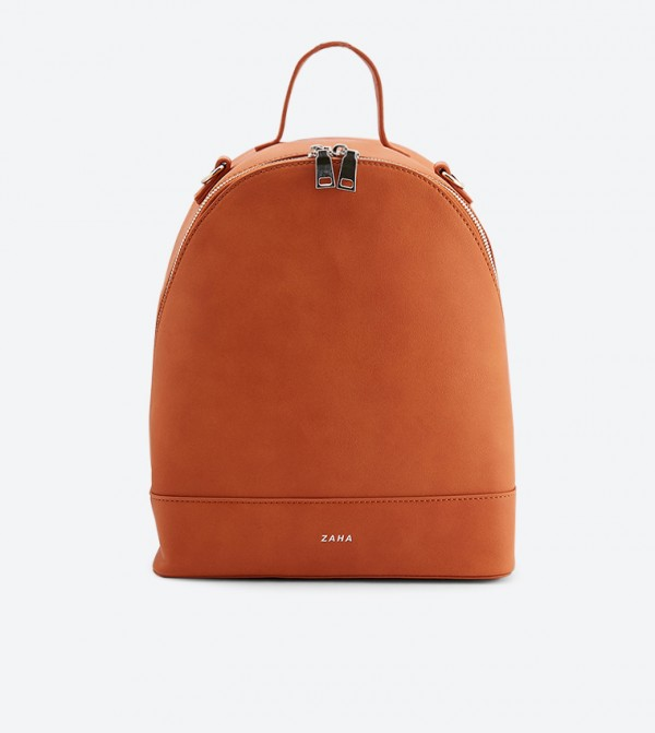 Top Handle Zip Closure Backpack - Orange